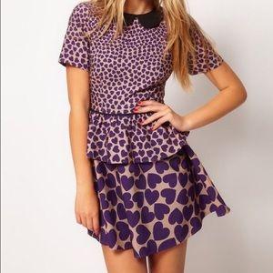 ⬇️ASOS | Peplum Dress In Heart Print